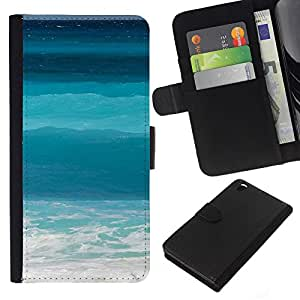 Planetar® Modelo colorido cuero carpeta tirón caso cubierta piel Holster Funda protección Para HTC DESIRE 816 ( Blue Waves Surf Summer Sun )