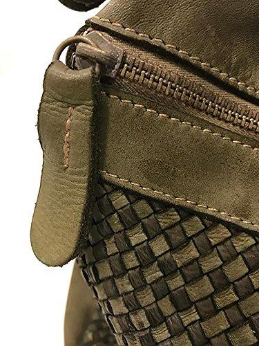 Damen Tasche Nemesi Paul.hide Beutel, Handtasche, Schultertasche Vintage Geflochten, Gewaschenes Leder, Made In Italy Handgefertigt Umhängetasche Vintage Used-Look Grün 40 x 27 x 26 cm (B x H x T)