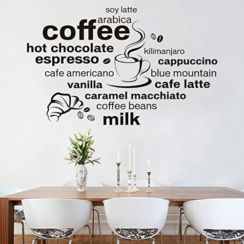 Pakdeevong shop 2017 New Design Simple and Stylish English Coffee Decoration Wall Decals Living Room Cafe Wall D Ecals (Halloween Nail Art Designs 2017)