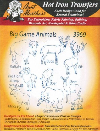 Big Game Animals Aunt Martha's Hot Iron Embroidery Transfer ()