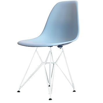 Charles Eames Style Leger Bleu En Plastique Retro Cote Chaise Eiffel