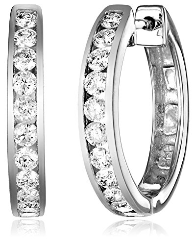 14k White Gold Channel-Set Diamond Hoop Earrings (3/4 cttw, H-I Color, I1-I2 Clarity) by Amazon Collection