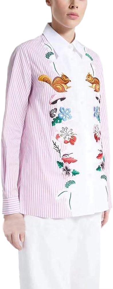 Camisa Bordada de Rayas con Botones Camisas Mujer Causal Blusa de Solapa de Manga Larga (Color : Pink, Size : S): Amazon.es: Ropa y accesorios