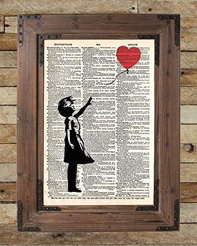 Banksy girl with balloon, red balloon girl print, street art, vintage dictionary page art, silhouette art