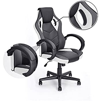 Computer Gaming Racing Chair Coavas Office High Back PU Leather Computer Chair Executive Swivel Task Desk Chair( Black+ white) ¡­