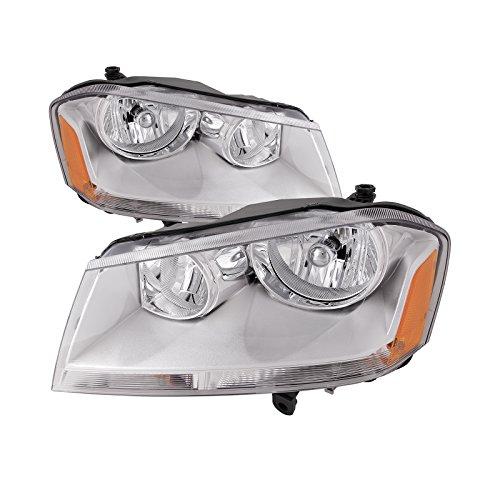 HEADLIGHTSDEPOT Compatible with Dodge Avenger SXT New Chrome Headlights Set Headlamps Pair