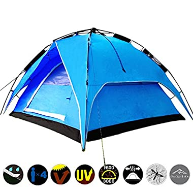 World Pride Outdoor Waterproof Portable Double Layer Automatic 4 Person Camping Family Tent Blue