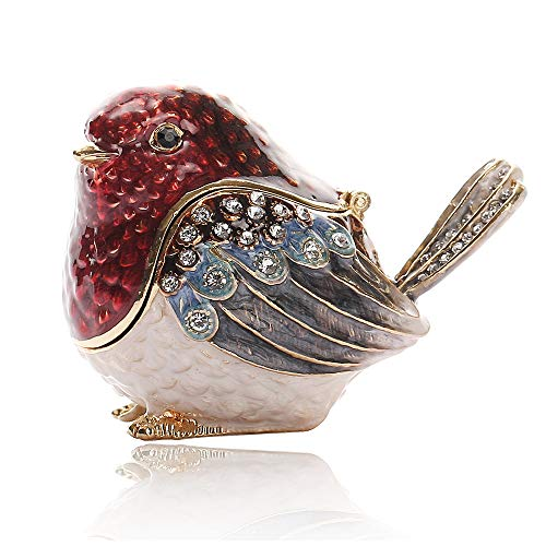 (Three Fish Crystal Robin Bird Hinged Trinket Box Gifts Hand-Painted Patterns Trinket Bejeweled Box Collectible.)