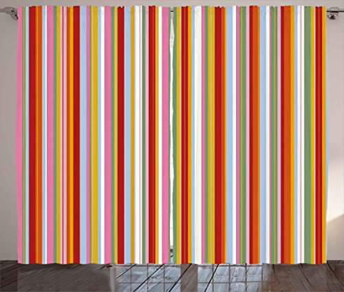 Ambesonne Retro Curtains, Vertical Striped Pattern in Vibrant Colors Artistic Funky Grunge Geometric Artwork, Living Room Bedroom Window Drapes 2 Panel Set, 108W X 63L Inches, Multicolor