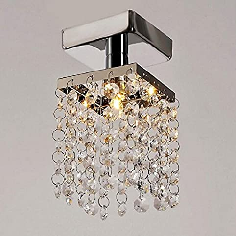 Ferty mini crystal chandeliers lighting modern rain drop pendant stainless steel flush mount ceiling light lamp