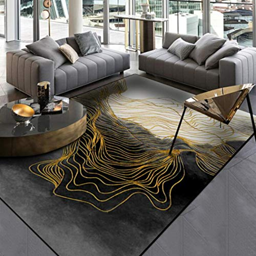 Tsavm Living Room Rugs Modern Abstract Chinese Black Ink Gold Line Carpets Bedroom Bath Kitchen Flannel Mats ()