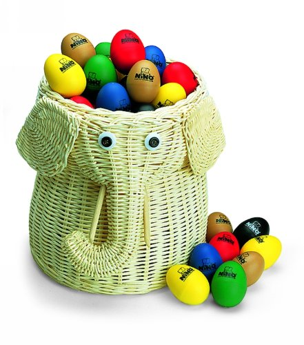 Nino Percussion VE80-NINO540 Plastic Egg Shaker Assortment with Basket, 80 Pieces by Nino Percussion