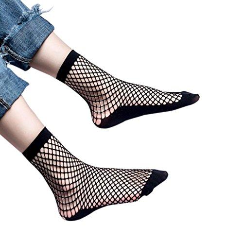 Besde Lace Ruffle Fishnet Ankle High Socks Mesh Lace Fish Net Short Socks (4Pair-B)
