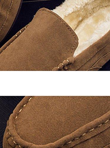 Basse Dooxi Slip Uomo Comfort On Piatto Inverno da Abbronzatura Foderato Scarpe Neve Loafers Caloroso Stivali Moda Barca qqr7x01n