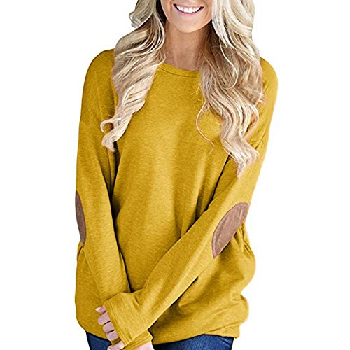 Womens Blouse Tunic Tops with Faux Suede Elbow Patches Pullover Sweater AfterSo