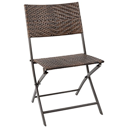 Flamaker Folding Patio Chair PE Wicker Rattan Chair Patio Furniture Dining chair and Camping Chair (Brown)