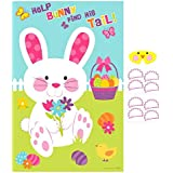 """Egg-stra Special Easter Party Pin-The-Tail On the Bunny Game, Paper, 37"""" x 24"""", Pack of 10"""