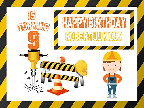 Construction Drill Caution Girl Worker Banner Decoration Birthday Party Poster with Crane - size 24x36, 48x24, 48x36; Birthday Banner Wall Décor, Handmade Party Supplies Poster Print -