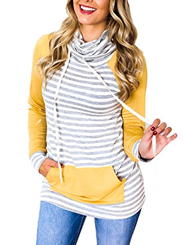 Famulily Women's Turtle Neck Pullover Hoodies Stripe Colorblock Sweatshirts Tops(Yellow,Large)