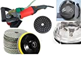 Wet Polisher Dustless Technologies 4'' / 100mm Polishing Pad 28+1 Pieces and 2 DAMO Glaze Buff Granite Concrete Sander Marble Glass