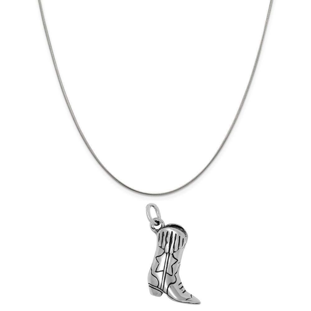 Raposa Elegance Sterling Silver 3D Cowboy Boots Charm on a Sterling Silver 20'' Snake Chain Necklace