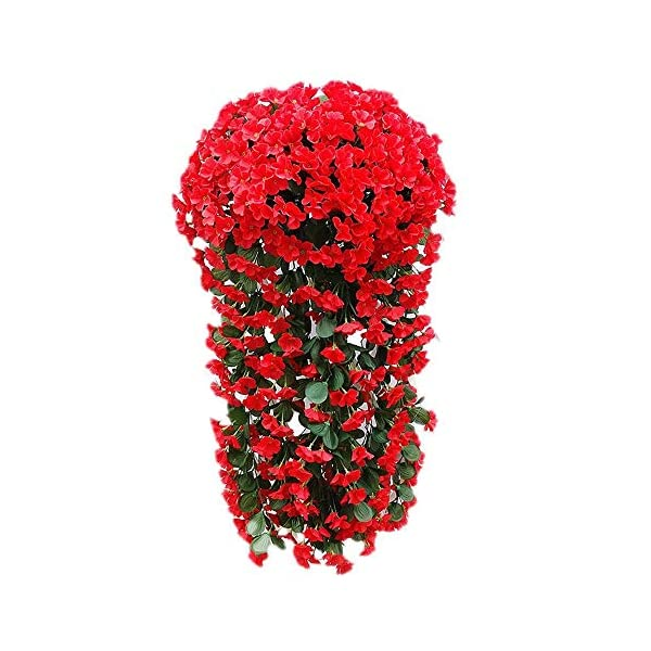 2PCS Artificial Vine Silk Flower Garland Hanging Baskets Plants Home Outdoor Wedding Arch Garden Wall Decor(Without Hanging Basket) (Color : Red)