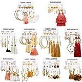 63 Pairs Colorful Earrings with Tassel Earrings