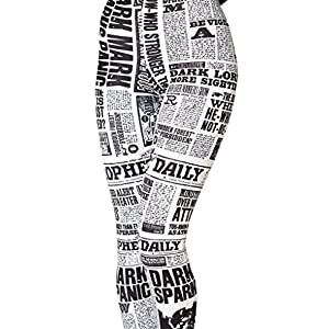 Sister Amy Women's High Waist Daily Newspaper Digital Printted Ankle Elastic Tights Legging