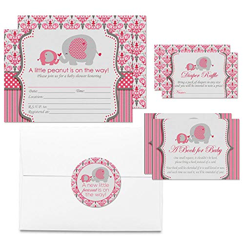 Deluxe Pink Elephant Themed Baby Shower Party Bundle for Girls, Includes 20 each of 5
