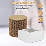 White Pie/Cake Box with Window and Round Gold Board