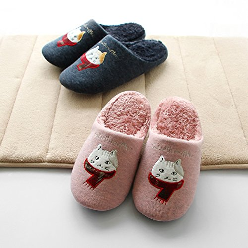 Cat Slippers Cat Winter Gray Slippers Indoor Warm Cartoon Men On Hotmiss and Women Plush for Slip Animal nAxYwaqva