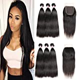 Cheap Beauty Princess Hair Peruvian Straight Hair 3 Bundles with Closure 8A Unprocessed Peruvian Virgin Hair with Closure Human Hair Bundles with Lace Closure Free Part Natural color (8 8 8+8, Black)
