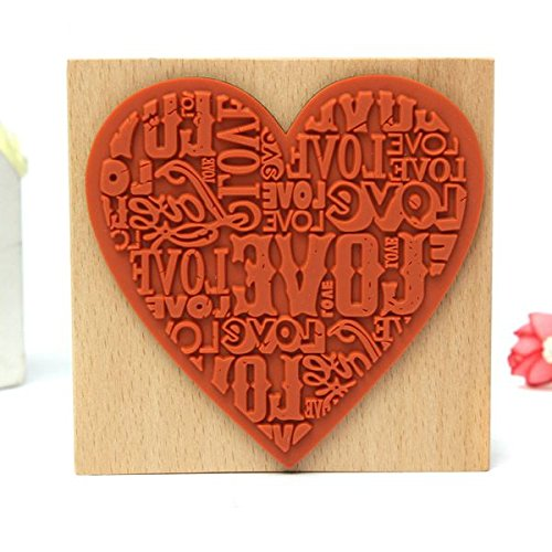 Wedding Anniversary Words (1pc Big Size Wooden Rubber Heart Stamp Love Word Stampin up Wood Mount Rubber Stamp for Valentines Anniversary Wedding)