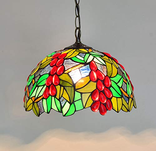 - GDLight 30CM Tiffany Style Pendant Lamp Grape Flower Art Stained Glass Chandelier for Bedroom Living Room Decoration Chandelier