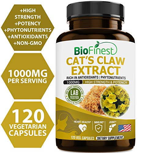 Biofinest Cat's Claw Extract 1000mg (Uncaria tomentosa) - Organic Gluten-Free Non-GMO - Made in USA - Supplement for Heart, Joint Health, Digestion, Immune System Booster(120 Vegetarian Capsules)