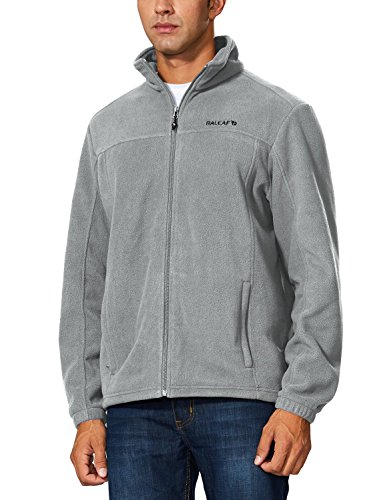 Baleaf Men's Outdoor Fleece Jacket Full Zip Thermal Light Gray Size XXXL -