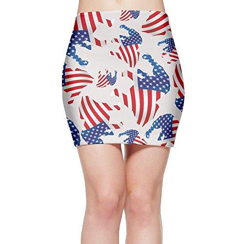 Hsfs Skirts Patriotic Pitbull American Flag Women's Bodycon Short Mini Skirt
