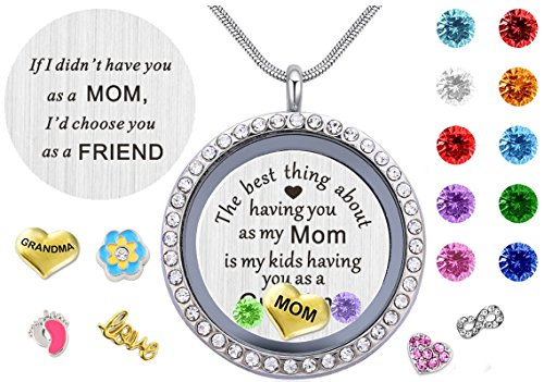 Grandma Birthstone Pendant (Best Gifts for Mother Mom Grandma Mammy Mum,30mm Round Living Memory Floating Charm Locket Pendant Necklace with Birthstones & Charms)