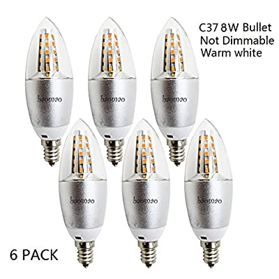 Baomao LED Candelabra Bulb, Base E12 8W, Warm White 2700K, LED Candle Bulbs, 60 Watt Light Bulbs Equivalent Incandescent,Non-dimmable, 700 Lumens LED Lights, Chandelier, Sliver (6 Pack,Bullet Tip)