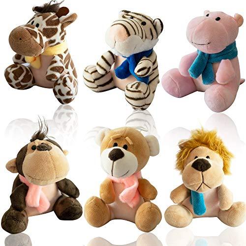 Nush Nush Set of 6 Small Stuffed Animals - Unisex Safari Animal Plush Toys - Premium Quality Stuffed Animals for Kids - Jungle Zoo Keychain Animal for Party Favors Gifts Carnival prizes