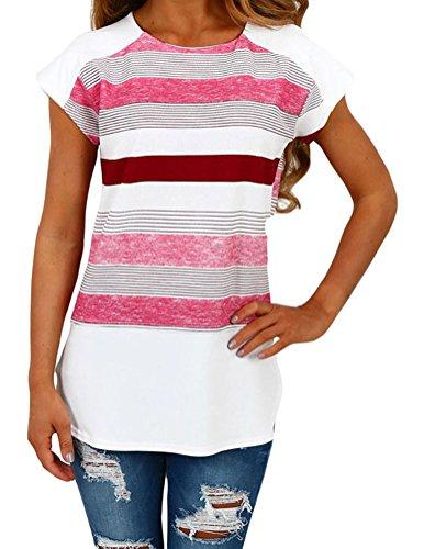 YeeATZ Womens White and Pink Multi Stripe Female T-Shirt