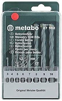 Metabo 627182000 627182000-Estuche 8 Brocas para hormigón MD Classic 3/4 / 5/6 / 7/8 / 9/10 mm, Set de 8 Piezas: Amazon.es: Bricolaje y herramientas