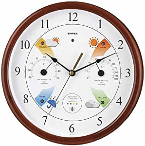 Enpekkusu weather thermometer temperature hygrometer Super EX melody Meteorological Observatory weather forecast for the function with wall hanging made in Japan Brown EX-5478