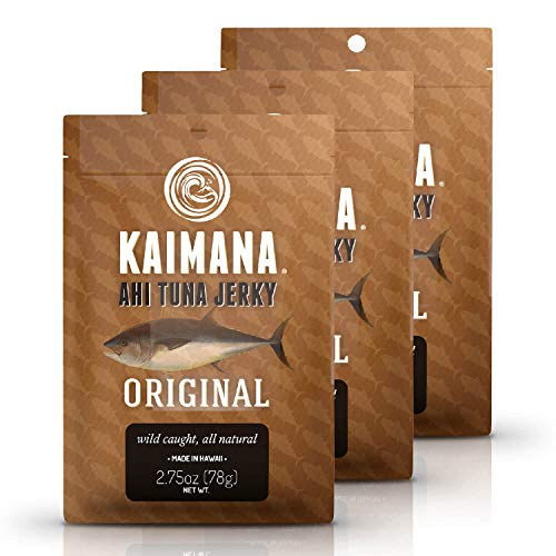 Kaimana Ahi Tuna Jerky Original 3 Pack - Soft and Tasty - Premium Fish Jerky Made in the USA. High in Omega 3s, All Natural and Wild Caught