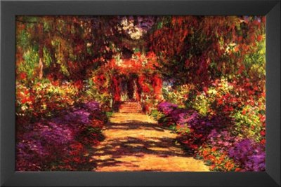 Claude Monet Path in Monet's Garden in Giverny Art Print Poster (Claude Monet Garden Giverny)
