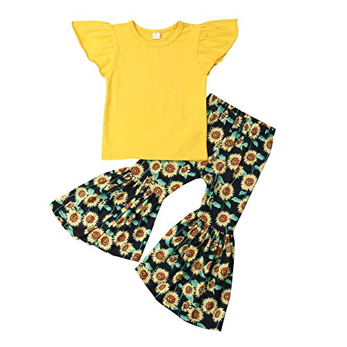 - Kid Baby Girls Clothes Toddler Baby Girls Ruffle Sleeve T-Shirt Tops+Sunflower Pants Outfit Set (Ruffle Sleeve T-Shirt Tops+Sunflower Pants, 2-3 Years)
