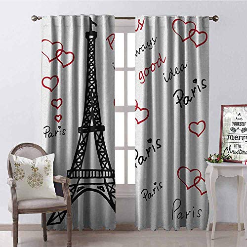 Gloria Johnson Eiffel Tower Wear-Resistant Color Curtain Eiffel Paris is Always a Good Idea Tourism Locations Love Valentines Waterproof Fabric W52 x L72 Inch Red Black White (Best Locations To See Solar Eclipse)