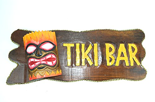 Carved Tiki Surfboard - Hand Carved Wooden TIKI BAR with MASK Cocktails Drinking BEACH Sign
