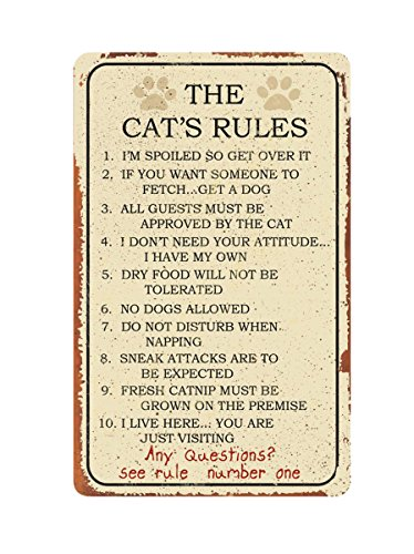 Rules Number Cat (Cat Rules Tin Sign 10 x 16in by Ohio Wholesale)