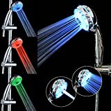 Lighted Shower Head LED Shower Head Temperature Control - GreForest Handheld Shower Heads 3 Colors Changing by Temperature